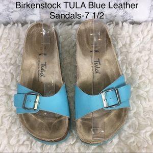 Birkenstock TULA Blue Leather Slide Sandals-7 1/2